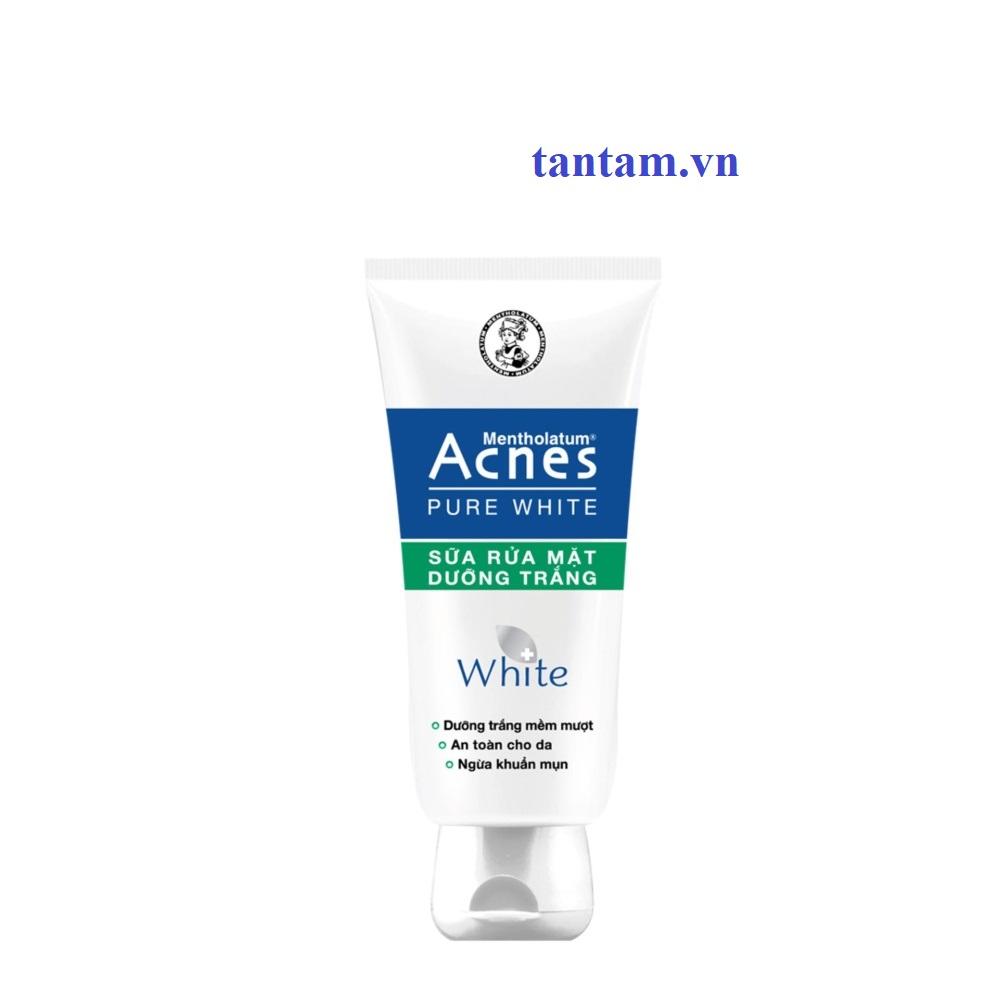 Sữa rửa mặt dưỡng trắng cho da ngừa khuẩn mụn Acnes Pure White 100g